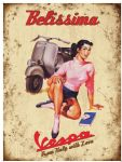"20012 - Vespa Belissima 12"" x 16"" Vintage Metal Steel Advertising Sign Plaque"